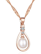 Infinite U Fashion Angel Tears Women Necklace 925 Sterling Plated Cubic Zirconia Pearl Drop-Shaped Pendant, Rose Gold