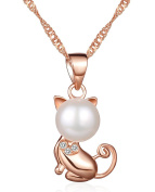 Infinite U Classic Cat Kitty Kitten Women Necklace 925 Sterling Silver Rhodium Plated Cubic Zirconia Pearl Pendant, Rose Gold