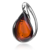 Cherry Amber Sterling Silver Drop Pendant