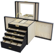 Songmics Jewellery Box Necklace Case Cosmetic Containers Black JBC217