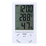 Trait-Tech Digital LCD Multi-functional Thermometer and Humidity Metre Clock Time/Date Display