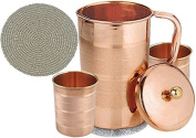 Indian Pure Copper Jug with 2 Tumbler Glass Set for Ayurvedic Healing, Capacity 1.6 Litre