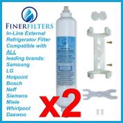 2 x Rangemaster SXS Series External Fridge Water Filter Compatible Replacement Aqua