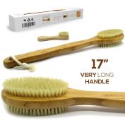 Luxury Bamboo Bath Brush Long 43cm Handle Back Body Scrubber For shower Fro dry / Wet Skin brushing Suitable for men / women