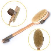Gospire Bath Brush Long Beechwood Handle Detachable with Natural Bristle Head Body Skin Brush