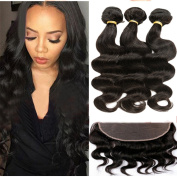 ALIMICE HAIR 8A 13X4 Ear To Ear Lace Frontal Closure With Bundles Peruvian Body Wave Virgin Human Hair 3 Bundles With Lace Frontal Closure
