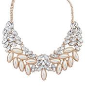 Lvxuan Lady Fashion Pearl Rhinestone Crystal Collar Statement Necklace