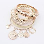 Lvxuan women fashion pearl gold multi-layer alloy pendants bangles sets