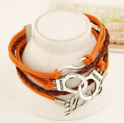 Lvxuan women orange vintage fashion punk woven multi-layer leather bracelet