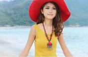 Lvxuan Bohemia handmade women new style vintage red beaded chain jewellery pendant tassel necklace