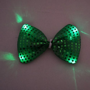 LED Light Up Flashing Green Sequin Bow Ties Tie