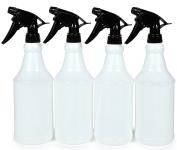 Vivaplex, 4 New, High Quality, Large, 470ml, Sturdy, Empty, Plastic Spray Bottles, with Black Trigger Sprayers