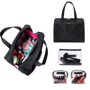LOUISE MAELYS Makeup Cosmetic Bag Toiletry Bag Tote Handbag with 3 Transparent Case for Travel