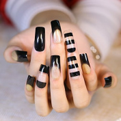 New 24pcs Hollow Fake Nails Black Transparent Glitter Long Square Head Full Cover Soft Nails Tips with Golden Glitter