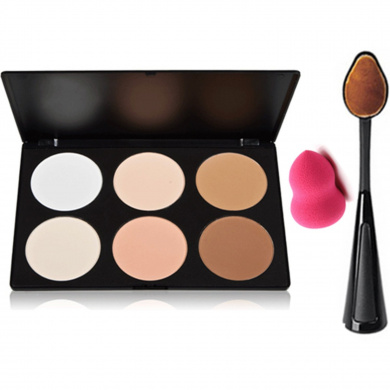 Start Makers ® Makeup Contouring kit-6 Colour Contour Powder Kit- Highlighting Contouring Bronzing Palette - Concealer Makeup Palette Kit - Oval Toothbrush Curve Contour Brushes- Mini Makeup Sponge