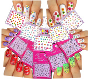 Cute & Adorable Nail Art 3D Stickers ♥ With Rhinestones Hearts / Flowers Collection of 10 Decals /EEX-I/