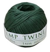 130m of 1mm 100% Hemp Twine Bead Cord in Hunter Green