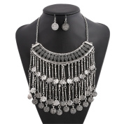 Lanue Womens Fashion Vintage Gold/Silver Plated Bead Coin Chain Necklace with Earrings Turkish Ethnic Bohemian Jewellery Set