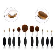 Summifit Professional 10 Pcs Soft Oval Toothbrush Set Foundation Eyeliner Blush Contour Cream Powder Makeup Brushes Set Cosmetics Tool