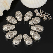 Vikeva 10 Set Silver Skull Rivet Spike Studs Spots DIY Rock Punk 16x25mm