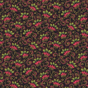 Andover-Makower 'Poinsettia' Folk Art Red on Black Christmas Cotton Fabric 44-110cm Wide