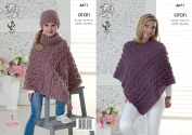 King Cole Ladies & Girls Aran Knitting Pattern for Cable Knit V or Polo Neck Poncho & Hat