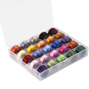25 Pcs Bobbins and Sewing Thread with Case for Brother Singer Babylock Janome Kenmore