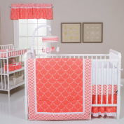 Trend Lab Shell 3 Piece Crib Bedding Set, Coral/White