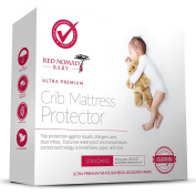 Red Nomad Crib Pad Mattress Protector - Ultra Soft Bamboo Fabric Waterproof Hypoallergenic Cover - Fits All Standard Crib Sizes