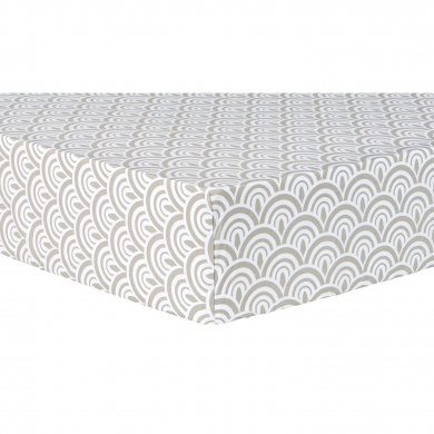 Trend Lab Art Deco Scallop Fitted Crib Sheet, Grey/White