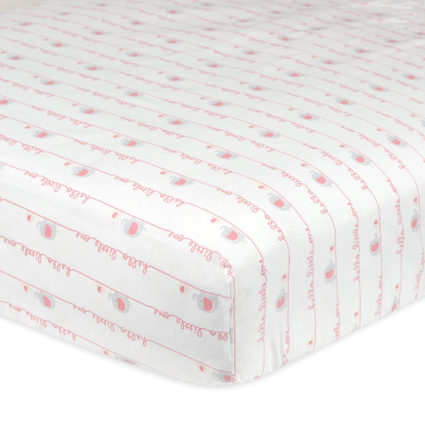 Gerber 100% Cotton Fitted Crib Sheet, Hello Little One