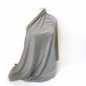 Mary B's Soft Premium Cotton Infinity Nursing Scarf and Breastfeeding Cover- Light Grey. Multiple Uses.