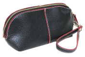 Corona Collection Black Pebble Texture Crescent Wristlet Case Contrast Trim