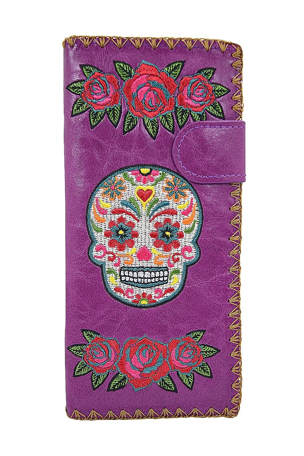 add2000d9ead Lavishy Rockabilly Rose & Sugar Skull Day of the Dead Embroidered Large  Wallet