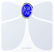 AcuHealth Body Fat and Fitness Analyzer with Mobille App Analyses 10 Fitness Index, including Body Weight, Body Water, Body Fat, BMI, BMR, Muscle Mass, Bone Mass, Visceral Fat and Physiological Age