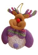 Hestio Christmas Cute Elk Little Deer Ornaments Xmas Tree Hanging Decoration Shiny Night Light