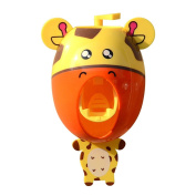Hangnuo Baby Toothbrush Dispensers kids Toothpaste Dispenser Automatic Cartoon Cute Animal Toothpaste Squeezer Giraffe