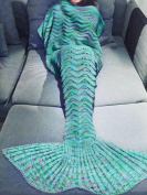 FEESHOW Mermaid Tail Blanket Handmade Crochet Knit All Seasons Snuggle Soft Sleeping Bag for Adult,Children,Teens Green (Adult Teens) 200cm x 90cm