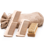 Beard Brush & Beard Combs Grooming Kit - 100% Natural Boar Bristle & Organic Birch Wood - Use With Oil, Balm or By Itself - Includes Sackcloth Pouch, Brush and 2 Combs