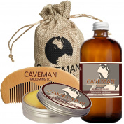 Caveman Beard Oil and Beard/Moustache Balm Wax, Handmade Comb Set in Drunken Caveman (Bay Rum) Scent 30ml oil, balm, comb