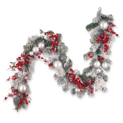 National Tree 180cm Christmas Garland with Red and White Ornaments