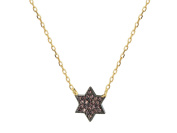 Fronay Collection Gold Plated Silver Mini Star of David Pendant Necklace, 39cm +3.8cm