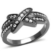 9 mm wide Cross ring designer fashion Brilliant cut Stainless Steel