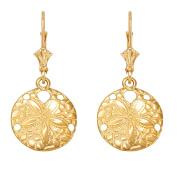 14k Yellow Gold Sea Star Sand Dollar Leverback Earrings