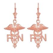 14k Rose Gold Caduceus RN Registered Nurse Leverback Earrings