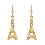14k Yellow Gold Paris Eiffel Tower Dangle Earrings