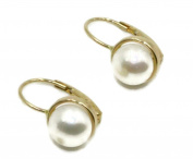 Freshwater White 6.5 mm Pearl Earrings with 14k Yellow Gold Leverbacks