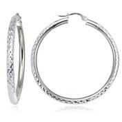 Hoops & Loops Sterling Silver 3mm Diamond-Cut Round Hoop Earrings, All Sizes