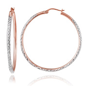 Hoops & Loops Rose Gold Flash Sterling Silver Two-Tone 2mm Diamond-Cut Round Hoop Earrings, All Sizes