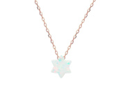 925 Rose Gold Plated Silver Mini Opal Stone Star of David Necklace, 38cm + 5.1cm ext